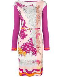 Emilio Pucci - Boat Neck Floral Dress - Lyst