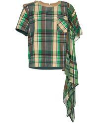 Sacai - Camiseta drapeada a cuadros - Lyst