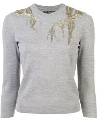 Alexander McQueen - Embroidered Fitted Jumper - Lyst