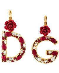 b5751b2569c6 Dolce   Gabbana - Pendientes DG con rosas y cristales - Lyst