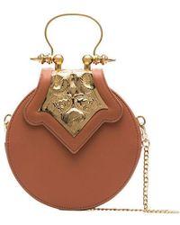 OKHTEIN - Bronze Mini Circle Leather Crossbody Bag - Lyst