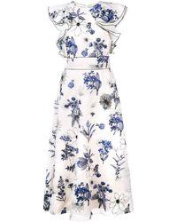 Lela Rose - Florales Kleid mit gerüschten Details - Lyst