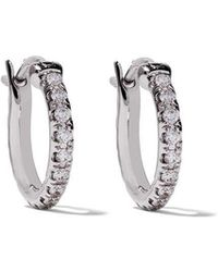 De Beers - 18kt White Gold Micropavé Small Hoop Diamond Earrings - Lyst