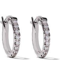 De Beers - 18kt White Gold Micropavé Small Hoop Diamond Earrings - Lyst