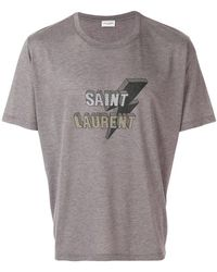 Saint Laurent - Logo Print T-shirt - Lyst