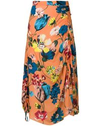 House of Holland - Floral Print Draped Skirt - Lyst