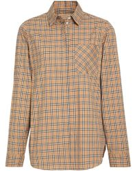 Burberry - Check Cotton Shirt - Lyst