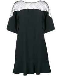 RED Valentino - Polka Dot Lace Insert Party Dress - Lyst