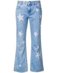 Stella McCartney - Star Print Cropped Jeans - Lyst