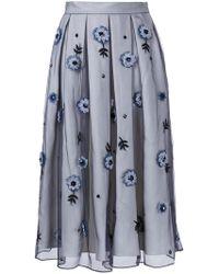Holly Fulton - Flower Embellished Pleated Skirt - Lyst