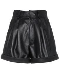 Saint Laurent - High-waisted Leather Shorts - Lyst