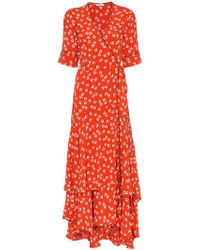 327d7109 Ganni - Silvery Crepe Wrap Dress - Lyst