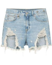 R13 - Tilly Shredded Slouch Denim Shorts - Lyst