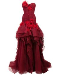 Marchesa - Layered Floral Gown - Lyst