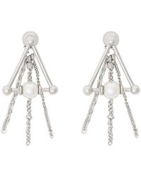 Burberry - Faux Pearl And Triangle Palladium-plated Drop Earrings - Lyst