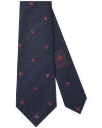 Gucci - Double G Wool Silk Tie - Lyst