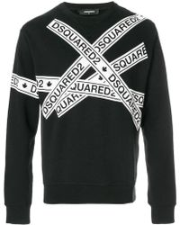 DSquared² - Logo Tape Print Sweatshirt - Lyst