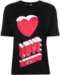 Love Moschino - Graphic Heart Logo T-shirt - Lyst