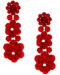 Simone Rocha Crystal Beaded Earrings - Rood