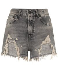 R13 - Shredded Ripped Hem Denim Shorts - Lyst