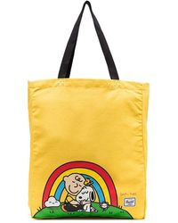 Herschel Supply Co. - Yellow Snoopy Print Cotton Tote Bag - Lyst