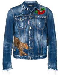 DSquared² - Embroidered Distressed Denim Jacket - Lyst