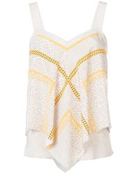 10 Crosby Derek Lam | Embroidered Flared Tank Top | Lyst