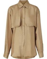 fa469eeb117f0d Burberry - Cape Detail Silk Shirt - Lyst