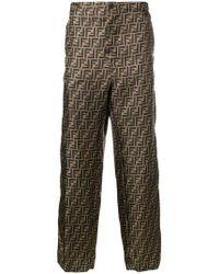 Fendi - Ff Logo Patterned Trousers - Lyst