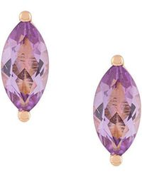 Delfina Delettrez - 18kt Champagne Gold Dots Solitaire Amethyst Stud Earrings - Lyst