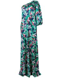 Saloni - Floral Print One Shoulder Dress - Lyst