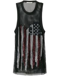 Amen - Sequinned Flag Mesh Tank Top - Lyst