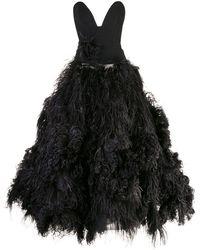 Oscar de la Renta Robe longue à plumes