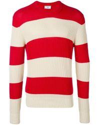 AMI - Sweater Aus Baumwollstrick Mit Streifen - Lyst