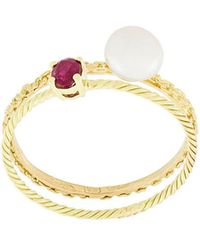 Wouters & Hendrix - Pearl & Ruby Set Of Rings - Lyst
