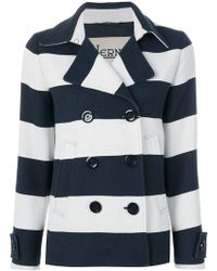 Herno - Striped Double Breasted Jacket - Lyst