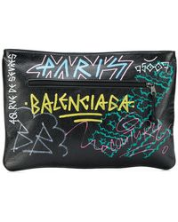Balenciaga - Printed Textured-leather Pouch - Lyst