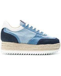 Le Silla - Denim Espadrilles Platform Sneakers - Lyst