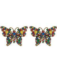 Gucci - Pendientes con mariposa de cristales - Lyst