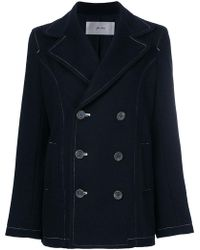 Julien David - Contrast Stitch Double-breasted Coat - Lyst