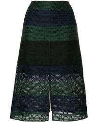 Julien David - Stripe Embroidered Skirt - Lyst