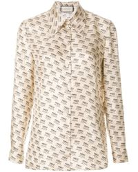 21f15cc8649 Gucci - Invite Stamp Long-sleeve Blouse - Lyst