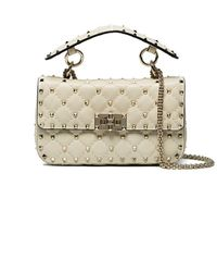 6e33d5fe45e8 Valentino - Cream Rockstud Quilted Shoulder Bag - Lyst