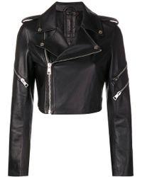 Manokhi - Cropped Biker Jacket - Lyst
