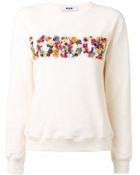 724d1fd1fc Lyst - Anouki Flower Lace Sleeves Sweatshirt in Gray