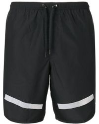 Neil Barrett - Stripe Hem Swimming Shorts - Lyst