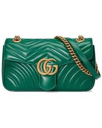 693c090154eb Gucci Gg Marmont Small Shoulder Bag in Green - Lyst