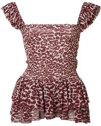 Piamita - Red Leopard Print Top - Lyst