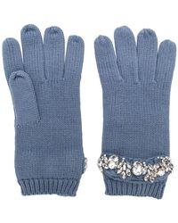Twin Set - Crystal Embellished Gloves - Lyst