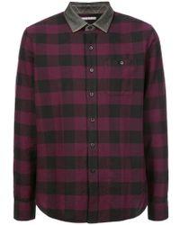 Michael Bastian - Contrasting Collar Check Shirt - Lyst
